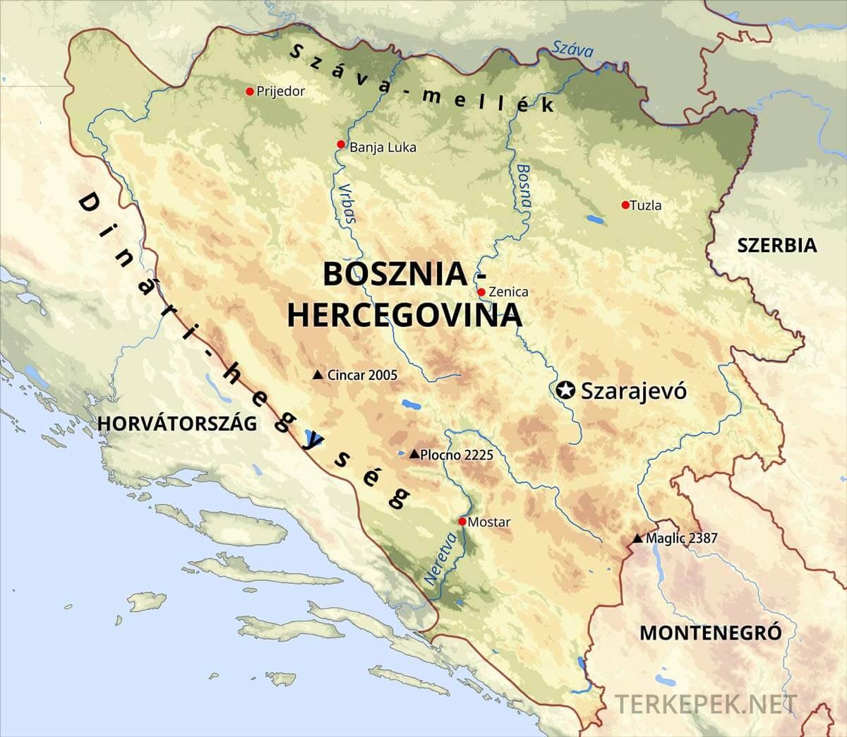 szerbia domborzati térkép Bosznia térképek szerbia domborzati térkép