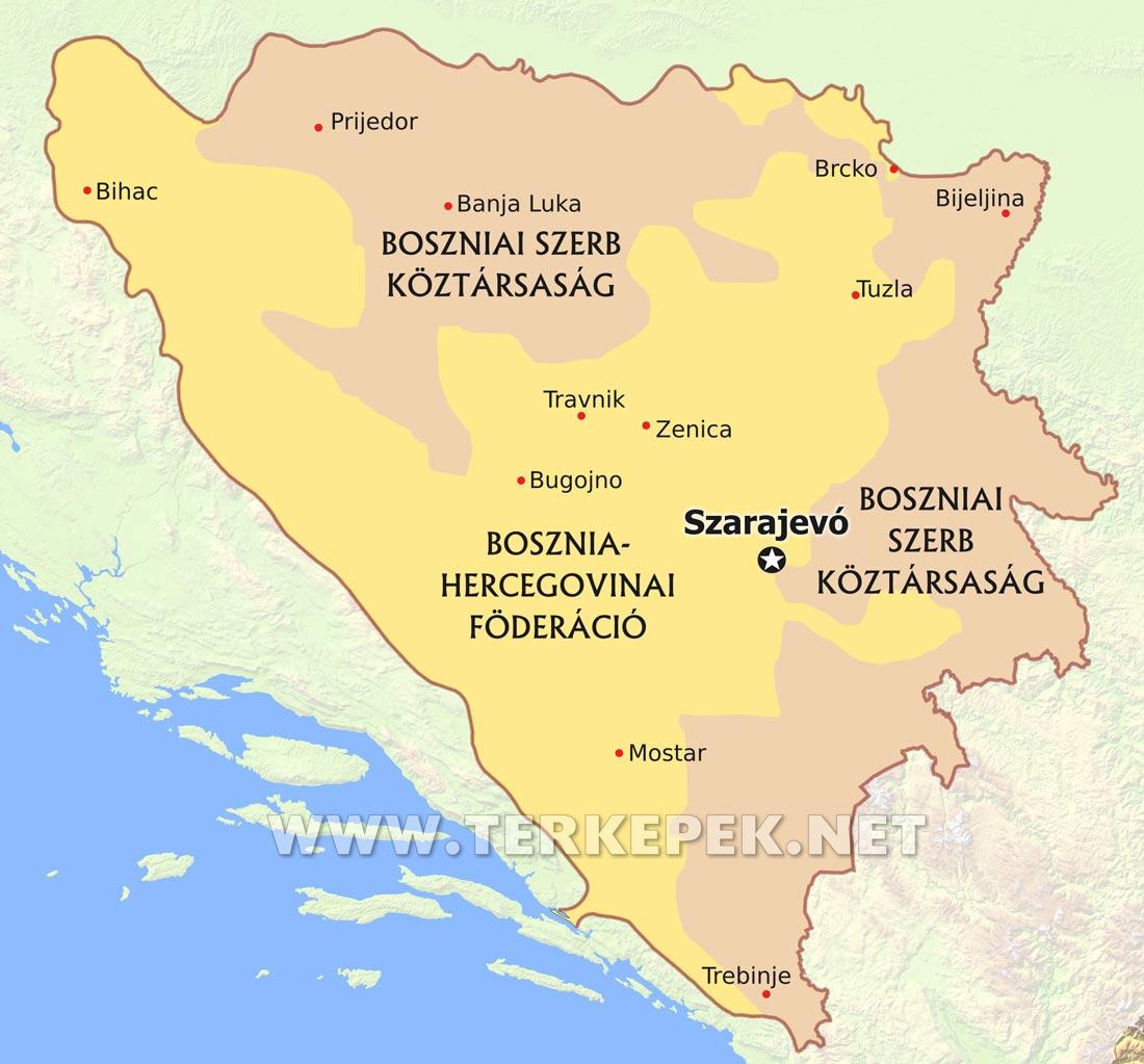 bosznia hercegovina térkép Bosznia térképek bosznia hercegovina térkép